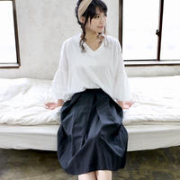 【受注生産】綿麻コットンリネンのサイドファスナータックフレアスカート(ブラック)