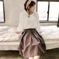 【受注生産】綿麻コットンリネンのサイドファスナータックフレアスカート(チョコ)