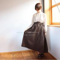 【丈85センチ・変更可 】しっかりコットンリネンで魅せる、ウエストゴムのロングギャザースカート(チョコブラウン)