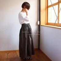 【丈85センチ・変更可 】しっかりコットンリネンで魅せる、ウエストゴムのロングギャザースカート(アーミーグリーン)