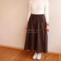 【フリーサイズ】ダブルガーゼで魅せる、ウエストゴムのふんわりギャザースカート(チョコブラウン)