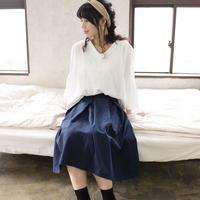 【受注生産】綿麻コットンリネンのサイドファスナータックフレアスカート(ネイビー)