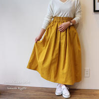 【Fサイズ】しっかりコットンリネンで魅せる、ウエストゴムのロングギャザースカート(綿麻マスタードイエロー)