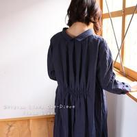 ○心地良く優しいリネン服○くったりベルギーリネンで魅せる、バックタックデザインシャツワンピース(ネイビー)