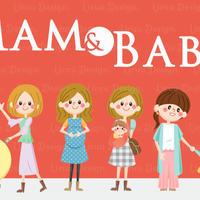 イラストテンプレート「Mam&Baby」