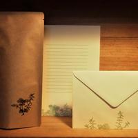 リチル×botaniko press 「珈琲豆+活版印刷レターセット(3組入)」 (ハーブ)