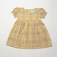 Marbles Dress - Hay Plaid Linen・5-6Y