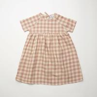 Hopscotch Dress - Rose Check Linen・5-6Y