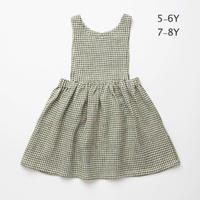 Nellie Quats・ Marlow Pinafore - Green Check Linen :5-6Y・ 7-8Y