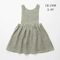 Nellie Quats・ Marlow Pinafore - Green Check Linen : 18-24M・3-4Y