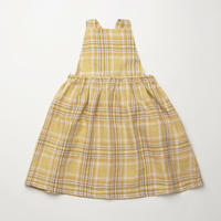 Conkers Pinafore - Hay Plaid Linen・5-6Y