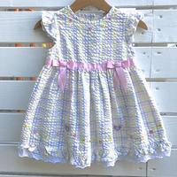 1052.【USED】Flower Plaid  Dress
