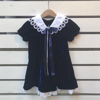 458.【USED】Navy Velours Lace  Dress