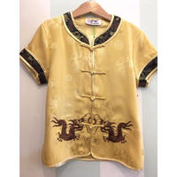 179.【USED】China Dragon motif Yellow Short Sleeve Shirts