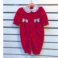 331.【USED】Red Nylon Red Rompers