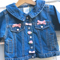 1053.【USED】Ribbon Big Collar Denim Jacket