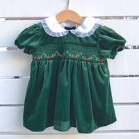 920.【USED】Green Smock embroidery velours Dress