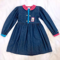 663.【USED】Blue Pink Color Scheme Denim Dress