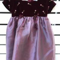271.【USED】Red velvet top Rose motif Dress