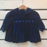 460.【USED】Navy Flower Ribbon Dress