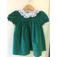 423.【USED】Green velvet Dress(Made in U.S.A.)