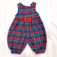 795.【USED】Big Ribbon Check  Rompers