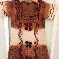 201.【USED】Brown x White Tie dye Dress