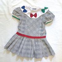 1615.【USED】Ribbon Collar Pleats Dress