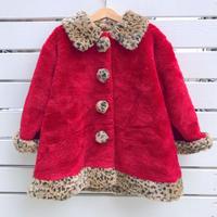 874.【USED】Leopard Red FakeFur Coat