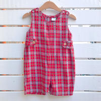 1100.【USED】Red Plaid Rompers