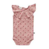 223.【oeuf】RUFFLE COLLAR ONESIE / rose flowers