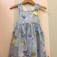 144.【USED】Flower print Blue Dress