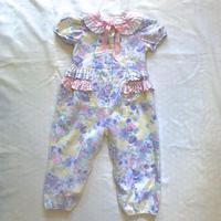 1616.pastel Colour Flower Rompers (made in U.S.A.)