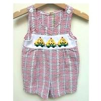 147.【USED】Yellow Cab Check Rompers