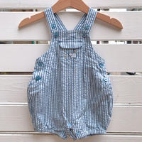 1036.【USED】Hippo Stripe Rompers