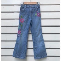 "670.【USED】""Lee"" Flower Denim long pants"