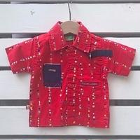 552.【USED】Red Colorful dot  Shirts