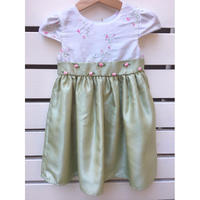 106.【USED】Rose motif Pastel green dress