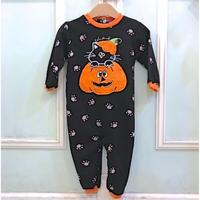 716,【USED】Black cat Pumpkin Rompers