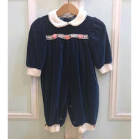 472.【USED】Navy Flower Lace Collar Rompers