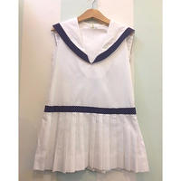 "183.【USED】60's 70's "" KATE GREENAWAY"" Sailor collar Marine Design Dress"