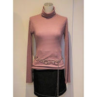 BORDER TURTLE NECK TEE PINK