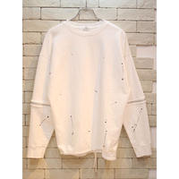 SLEEVE ZIPPER CREW SWEAT WHITE