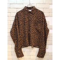 LEOPARD CROPPED SHIRTS BROWN