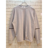 SLEEVE ZIPPER CREW SWEAT GRAY
