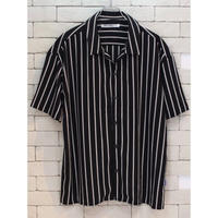 S/S OPENCOLLAR STRIPE SHIRTS BLACK