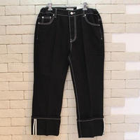 WHITE STITCH BLACK DENIM PANTS