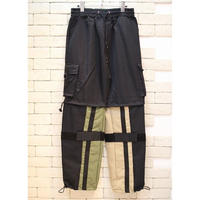 NYLON SWITCHING CARGO PANTS OLV×BEIGE