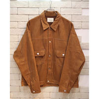 FAUX SUEDE TRUCKER JKT BROWN