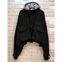 CROPPED HOODED MILITARY JKT BLACK